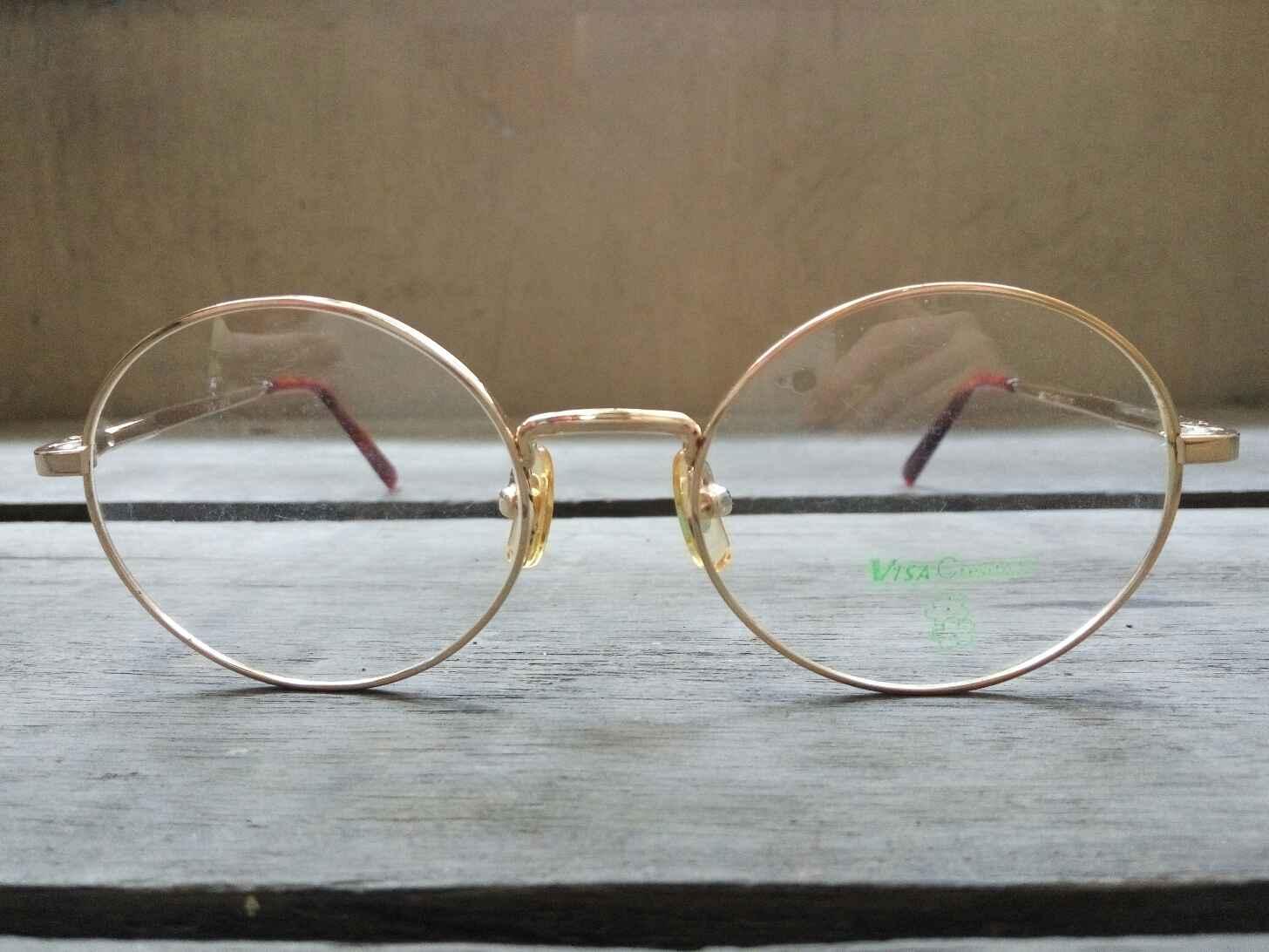 Kacamata Vintage Jadul Antik Original VISA CREATION ROUND GOLD PLATE ... 5fc20feccb