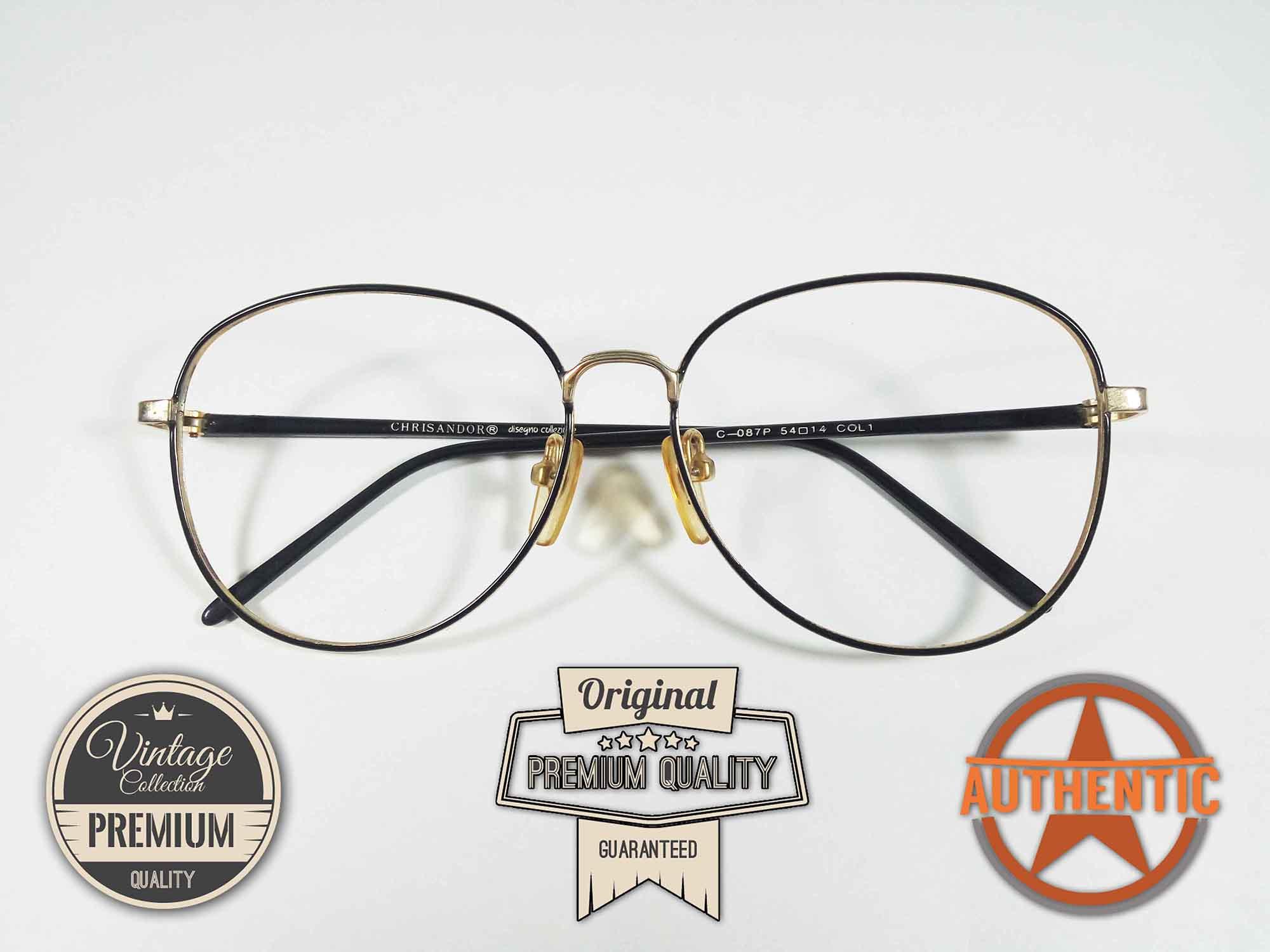 Kacamata Vintage Bulat Oval Jadul Antik Classic Original CHRISANDOR C-087P  BLACK GOLD 4583623fd8